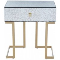 Product photograph showing Keseni Mirrored Glass End Table In Silver With Gold Legs