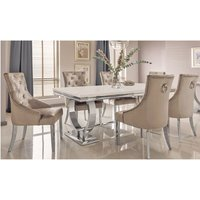 Kesley Large Cream Marble Dining Table 8 Enmore Champagne Chairs