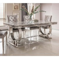 Kesley Marble Dining Table Large In Grey And Stainless Steel