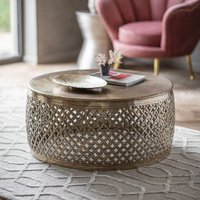 Product photograph showing Khalasar Metal Round Coffee Table In Bronze