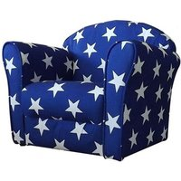 Product photograph showing Kids Mini Fabric Armchair In Blue With White Stars