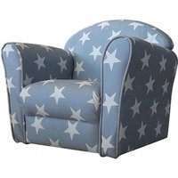 Product photograph showing Kids Mini Fabric Armchair In Grey With White Stars