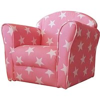 Product photograph showing Kids Mini Fabric Armchair In Pink With White Stars