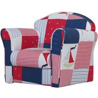 Product photograph showing Kids Mini Fabric Armchair In Red With Blue Patchwork