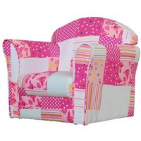 Kids Mini Fabric Armchair In White With Pink Patchwork