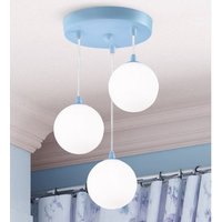 Product photograph showing Kids Wall Hung 3 Pendant Light In Blue With White Opal Glass
