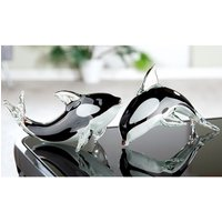 Product photograph showing Killer Whale Glass Set Of 2 Design Sculpture In Black And White