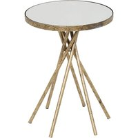 Product photograph showing Kilmer Marble Effect Side Table With Matt Gold Finish Frame