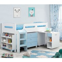 Product photograph showing Kimbo Cabin Bunk Bed In White And Blue