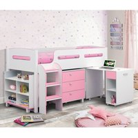 Product photograph showing Kimbo Cabin Bunk Bed In White And Pink