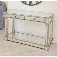 Product photograph showing Kimmy Mirrored Console Table With Two Drawers