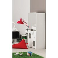 Product photograph showing Soccer Childrens Wardrobe In Pearl White And Grey With 2 Doors