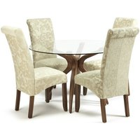 Jenson Round Glass Dining Table 4 Ameera Chairs In Floral Sage