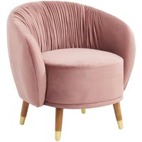 Product photograph showing Kiona Blush Fabric Armchair In Pink With Oak Legs