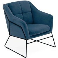 Product photograph showing Klaus Velvet Fabric Bedroom Chair In Blue