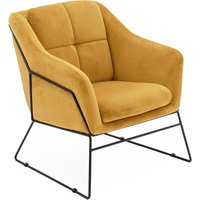 Product photograph showing Klaus Velvet Fabric Bedroom Chair In Mustard