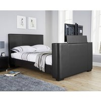 Product photograph showing Knightsbridge Modern Double Tv Bed In Black Faux Leather