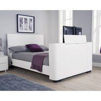 Product photograph showing Knightsbridge Modern Double Tv Bed In White Faux Leather
