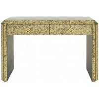 Product photograph showing Koma Mirrored Glass Console Table In Antique Gold