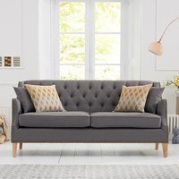 Kosmo 3 Seater Sofa In Grey Fabric With Natural Ash Legs