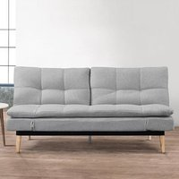 Krevia Faric Sofa Bed In Light Stone Grey With Wooden Legs