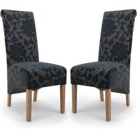 Product photograph showing Krista Charcoal Baroque Velvet Dining Chair In A Pair