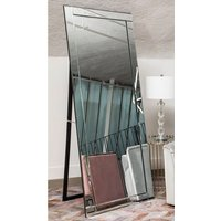 Product photograph showing Kutztown Bevelled Edge Floor Standing Mirror With Black Stand