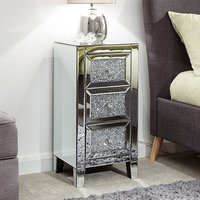 Laconia Mirrored Jewelled Bedside Cabinet With 3 Drawers