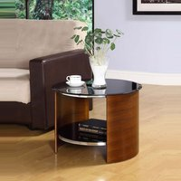 Bentwood Lamp Table Round In Walnut With Black Gloss Top