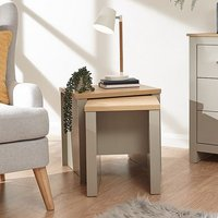 Product photograph showing Valencia Set Of 2 Wooden Nesting Tables In Grey And Oak