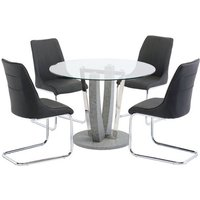 Langham Glass Round Dining Set In Clear With 4 Langhham