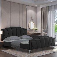 Lanier Plush Velvet Single Bed In Black