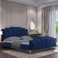 Lanier Plush Velvet Single Bed In Blue