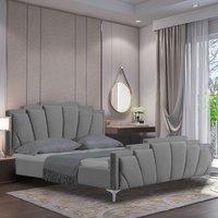 Lanier Plush Velvet Single Bed In Grey
