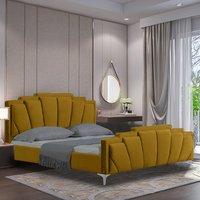 Lanier Plush Velvet Single Bed In Mustard