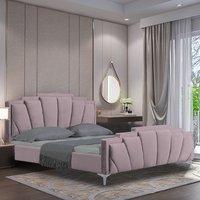 Lanier Plush Velvet Single Bed In Pink