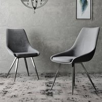 Product photograph showing Lanna Dark Grey Velvet Fabric Dining Chairs In Pair