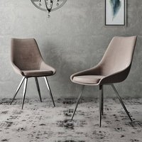 Product photograph showing Lanna Mink Velvet Fabric Dining Chairs In Pair