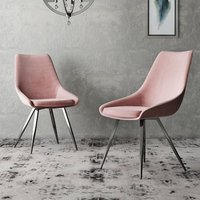 Product photograph showing Lanna Pink Velvet Fabric Dining Chairs In Pair