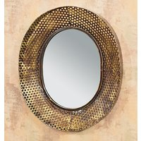Product photograph showing Lansing Wall Mirror In Copper Metal Frame