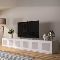 Product photograph showing Latvia Large Glass Tv Stand In White High Gloss