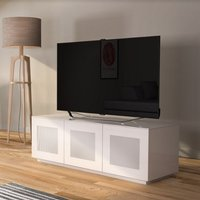 Product photograph showing Latvia Modern Glass Tv Stand In White High Gloss