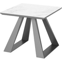 Product photograph showing Lavante Ceramic And Glass Top Side Table In Light Grey