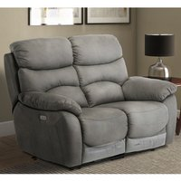 Product photograph showing Layla Fabric Electric Recliner 2 Seater Sofa In Grey