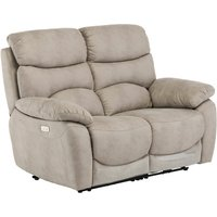 Product photograph showing Layla Fabric Electric Recliner 2 Seater Sofa In Natural