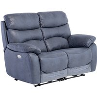 Product photograph showing Layla Fabric Electric Recliner 2 Seater Sofa In Slate Blue