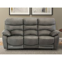 Product photograph showing Layla Fabric Electric Recliner 3 Seater Sofa In Grey