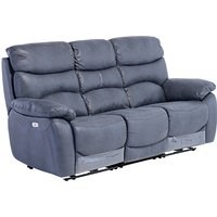 Product photograph showing Layla Fabric Electric Recliner 3 Seater Sofa In Slate Blue