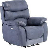 Product photograph showing Layla Fabric Electric Recliner Armchair In Slate Blue