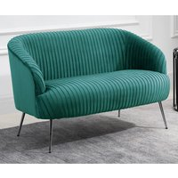 Product photograph showing Layla Fabric Upholstered 2 Seater Sofa In Green